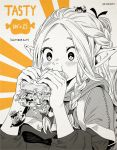 2girls 3boys animal_ears armor blush braid cat_ears cat_tail cheese chilchuck dungeon_meshi dwarf eating elf english_text food french_braid holding holding_food horns inktober izutsumi laios_thorden long_hair long_sleeves marcille meat multiple_boys multiple_girls pointy_ears sandwich senshi_(dungeon_meshi) short_hair size_difference tail twin_braids upper_body vinhnyu zzz