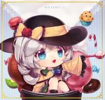 1girl black_headwear blue_eyes border bow candy candy_cane chibi chocolate_doughnut doughnut flower food frilled_sleeves frills green_hair hat hat_bow hat_flower ice_cream komeiji_koishi long_sleeves macaron medium_hair muffin orchid_(pixiv3730518) oversized_object solo third_eye touhou wide_sleeves