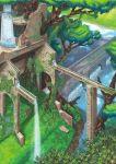 1girl aqueduct day nagi_itsuki no_humans original outdoors redhead river scenery solo tree water waterfall