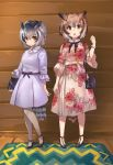 2girls :o alternate_costume bag belt belt_bow black_neckwear blonde_hair bow bowtie bracelet brown_eyes brown_hair casual collared_dress commentary_request dress eurasian_eagle_owl_(kemono_friends) eyebrows_visible_through_hair floral_print frilled_sleeves frills grey_dress grey_hair hair_between_eyes handbag high_heels highres jewelry kemono_friends kemono_friends_3 multicolored_hair multiple_girls necklace northern_white-faced_owl_(kemono_friends) pantyhose pearl_necklace short_hair short_sleeves tadano_magu white_hair white_legwear yellow_eyes