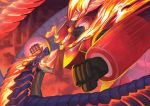 breathing_fire dragon fighting fire from_side mecha nagi_itsuki no_humans original pixiv_fantasia pixiv_fantasia_last_saga punching