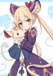 1girl absurdres bangs blonde_hair blue_background blush bow brown_eyes closed_mouth commentary_request double_bun dress eyebrows_visible_through_hair ghost hair_bow highres holding holding_stuffed_animal jiu_(sdesd3205) long_hair long_sleeves looking_at_viewer luna_(shadowverse) purple_dress red_bow shadowverse smile solo stuffed_animal stuffed_dog stuffed_toy twintails two-tone_background very_long_hair white_background
