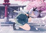 1girl ainy77 architecture black_footwear black_hairband blue_eyes bobby_socks cherry_blossoms collared_shirt commentary_request dual_wielding east_asian_architecture from_side full_body green_skirt green_vest hairband hakugyokurou holding holding_weapon konpaku_youmu long_sleeves mary_janes one_knee petals revision rope shimenawa shirt shoes short_hair skirt socks solo stone_lantern sword touhou tree vest weapon white_hair
