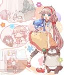 1girl :t anchor_print arms_up bag bangs blue_eyes blush bokukawauso bow bubble_tea cellphone closed_eyes commentary_request crepe cup dolphin dress drinking_straw eating eyebrows_visible_through_hair food food_on_face frilled_dress frills full_body hair_flaps hairband highres holding holding_food holding_phone kantai_collection light_brown_hair long_hair long_sleeves looking_at_another looking_at_viewer low_twintails mikura_(kantai_collection) mitsukoshi_(department_store) open_mouth pantyhose phone pouch red_bow shirt shoes shoulder_bag simple_background sitting sleeping smartphone smile statue taking_picture twintails very_long_hair wallet wss_(nicoseiga19993411)