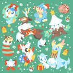 :d alolan_form alolan_vulpix amaura bell bird black_eyes blue_eyes candy candy_cane christmas christmas_lights closed_eyes creature delibird dinosaur eye_contact facing_viewer fangs food full_body furret gen_2_pokemon gen_4_pokemon gen_5_pokemon gen_6_pokemon gen_7_pokemon gift green_background happy hat holding holding_candy_cane looking_at_another munchlax no_humans open_mouth piplup poke_ball poke_ball_(generic) pokemon pokemon_(creature) reindeer santa_hat sawsbuck sawsbuck_(winter) simple_background sleeping smile snom snover snowflakes socks standing standing_on_one_leg swinub versiris zzz