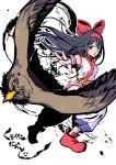 1girl absurdres ainu_clothes armpits bird black_hair fingerless_gloves gloves highres kurogane_naoto_(churushiko) long_hair mamahaha nakoruru open_mouth red_footwear red_ribbon ribbon samurai_spirits