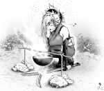 1girl cooking detached_sleeves fate/grand_order fate_(series) glowing glowing_sword glowing_weapon greyscale happy katana koyubi_(littlefinger1988) miyamoto_musashi_(fate) monochrome mundane_utility musical_note signature squatting steam sword thigh-highs weapon