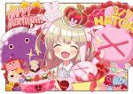 1girl blush cake closed_eyes crown fang food hair_ornament happy_birthday kureya908 long_hair natori_sana open_mouth portrait sana_channel solo virtual_youtuber