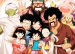 3girls 6+boys :d ;) ^_^ afro animal baby beard bee_(dragon_ball) black-framed_eyewear black_eyes black_hair blue_eyes blush brothers cape chi-chi_(dragon_ball) china_dress chinese_clothes clenched_hand clenched_teeth closed_eyes collared_shirt dog dot_nose double_v dragon_ball dragon_ball_super dress dress_shirt eyelashes facial_hair family father_and_daughter father_and_son furrowed_eyebrows glasses gloves gradient gradient_background grandfather_and_granddaughter grandmother_and_granddaughter grey_eyes gyuu_mao hair_between_eyes hair_bobbles hair_bun hair_ornament hairband hand_on_another's_shoulder hand_on_hip hand_up hat height_difference high_ponytail holding holding_animal husband_and_wife long_sleeves looking_at_another looking_at_viewer looking_back looking_down majin_buu mattari_illust medium_hair mother-in-law_and_daughter-in-law mother_and_daughter mother_and_son mr._satan multiple_boys multiple_girls mustache neckerchief one_eye_closed open_mouth orange_background pan_(dragon_ball) piccolo pink_hairband pink_shirt pink_sweater pointy_ears ponytail purple_neckwear shirt siblings simple_background smile son_gohan son_gokuu son_goten spiky_hair suspenders sweater teeth thumbs_up turban upper_teeth v v_arms videl waistcoat waving white_background white_shirt wristband yellow-framed_eyewear yellow_gloves