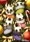 1girl 4others absurdres bauble candy candy_cane christmas christmas_lights christmas_ornaments christmas_stocking christmas_tree commentary_request food fur_trim highres holding holding_weapon hollow_eyes hollow_knight hollow_knight_(character) hornet_(hollow_knight) horns knight_(hollow_knight) looking_at_viewer maga_(comicfans100) merry_christmas multiple_others no_humans pale_king_(hollow_knight) peeking_out ribbon sitting stuffed_toy weapon younger