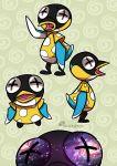 1boy artist_name bird bisu_(doubutsu_no_mori) doubutsu_no_mori galaxy green_background open_mouth penguin seagerdy solo star_(sky) tongue