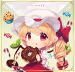 1girl :3 bitten blonde_hair border candy candy_cane character_name chibi chocolate_doughnut crumbs doughnut english_text flandre_scarlet food fruit grapes hat holding holding_food kiwi_slice looking_at_viewer macaron mob_cap muffin orchid_(pixiv3730518) oversized_food puffy_short_sleeves puffy_sleeves red_eyes red_skirt short_sleeves skirt smile solo sprinkles touhou wings