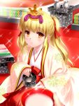 1girl 1other angel_beats! blonde_hair blurry brown_eyes commentary_request depth_of_field floral_print highres hinamatsuri hishimochi japanese_clothes karaginu_mo kimono layered_clothing layered_kimono long_hair looking_at_viewer parted_lips saucer sparkle teapot tokkuri twintails yusa_(angel_beats!) zen