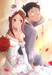 1boy 1girl absurdres back-to-back bare_shoulders black_hair blush bouquet breasts bridal_veil brown_eyes brown_hair collarbone commentary_request couple dated dress elbow_gloves flower gloves hair_flower hair_ornament hair_up highres holding_hands husband_and_wife jewelry karakai_jouzu_no_takagi-san looking_back necklace nishikata older petals red_flower red_rose rose sidelocks signature sleeveless sleeveless_dress small_breasts smile strapless strapless_dress takagi-san tuxedo veil wedding wedding_dress white_dress white_flower white_gloves white_rose zee_n3