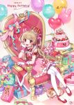 1girl absurdres alternate_costume armband balloon birthday_cake brown_hair cake cat chair commentary_request crown dated food full_body gift happy highres long_hair looking_at_viewer natori_sana open_mouth red_eyes saekiyahiro sana_channel sitting solo thigh-highs virtual_youtuber