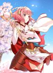 1girl armored_skirt breasts brown_eyes capelet cherry_blossoms cowboy_shot day elbow_gloves fire_emblem fire_emblem_fates gloves gohei hairband highres japanese_clothes medium_breasts misu_kasumi nontraditional_miko outdoors petals pink_hair sakura_(fire_emblem) short_hair smile solo staff thigh-highs thighs white_gloves white_legwear wind