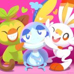 ^_^ closed_eyes commentary creature english_commentary full_body gen_8_pokemon grin grookey happy monkey no_humans one_eye_closed pokemon pokemon_(creature) purple_background rabbit scorbunny shadow simple_background smile sobble standing tumblr_username versiris