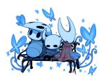 1boy 1girl 1other bench blue_butterfly bug butterfly cloak commentary full_body glowing grey_cloak hollow_eyes hollow_knight hornet_(hollow_knight) horns insect knight_(hollow_knight) mask no_humans quirrel red_cloak resting simple_background sitting ugly_cat weapon white_background