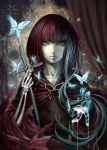 1girl bangs blue_butterfly blunt_bangs braid brooch butterfly_brooch capelet commentary_request cross fata_morgana_no_yakata highres jewelry long_hair looking_at_viewer morgana_(fata_morgana_no_yakata) moyatarou multicolored_hair official_art red_capelet redhead single_braid skeletal_hand solo white_hair yellow_eyes
