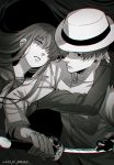1boy 1girl artist_name asymmetrical_bangs bangs buttons closed_mouth collar collared_jacket fate/grand_order fate_(series) gloves hair_over_one_eye hand_on_another's_neck hat holding holding_sword holding_weapon jacket katana long_hair long_sleeves looking_at_viewer meiji_ken monochrome oryou_(fate) parted_lips sakamoto_ryouma_(fate) short_hair standing sword upper_body weapon