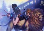 1boy 2girls amiya_(arknights) animal animal_ears arknights bent_over black_jacket blue_eyes brown_hair commentary_request cutoffs dated doctor_(arknights) fur_trim helmet hood hood_down hooded_jacket ikeda_(cpt) jacket lion lion_ears lion_tail long_hair multiple_girls parted_lips rabbit_ears red_shorts reins shoes short_shorts shorts siege_(arknights) sleeping straddling tail thighs