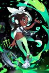1girl arm_up bandana black_hair bracelet cephalopod_eyes chain commentary crop_top cropped_vest dark_skin fang gradient_hair green_hair green_pants green_skirt highres iida_(splatoon) jewelry liquid logo long_hair looking_to_the_side lowleg lowleg_pants midriff mole mole_under_mouth monster_energy multicolored multicolored_hair multicolored_skin navel_piercing necklace no_socks octarian open_mouth oversized_object pants paripi_nasubi pendant piercing pink_pupils shirt shoes skirt sleeveless sleeveless_shirt smile solo sparkle splatoon_(series) splatoon_2 splatoon_2:_octo_expansion standing suction_cups tentacle_hair white_bandana white_footwear white_shirt