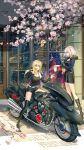 2girls artoria_pendragon_(all) blonde_hair boots fantasyxing fate/grand_order fate_(series) ground_vehicle highres jeanne_d'arc_(alter)_(fate) jeanne_d'arc_(fate)_(all) long_hair motor_vehicle motorcycle multiple_girls saber_alter short_hair thigh-highs thigh_boots yellow_eyes