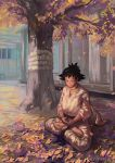 1girl ahruna_(akeru99) autumn autumn_leaves barefoot black_hair choker closed_eyes commentary dougi english_commentary highres karate_gi leaf lotus_position makoto_(street_fighter) maple_leaf meditation outdoors ribbon_choker short_hair solo spiky_hair street_fighter street_fighter_iii_(series) toes tree