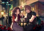 1boy 1girl :d ^_^ aerith_gainsborough artist_request belt blonde_hair brown_hair chair closed_eyes cloud_strife commentary_request cup dating drinking_straw final_fantasy final_fantasy_vii flower gloves lamppost long_hair open_mouth rose shoulder_armor sitting sleeveless sleeveless_turtleneck smile spiky_hair table turtleneck