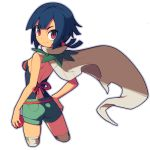 1girl bare_back black_hair breasts cape closed_mouth eyebrows_visible_through_hair from_behind green_shorts hair_bobbles hair_ornament hand_on_hip higana_(pokemon) holding holding_poke_ball looking_at_viewer metata poke_ball poke_ball_(generic) pokemon pokemon_(game) pokemon_oras short_hair shorts simple_background small_breasts smile solo white_background white_cape