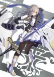 1girl azur_lane blue_ribbon breastplate breasts cannon corset diamond_(shape) eyebrows_visible_through_hair fleur_de_lis full_body gauntlets grey_hair hair_between_eyes hair_ornament highres holding holding_polearm holding_spear holding_weapon left-handed loli_ta1582 long_hair medium_breasts mole mole_under_eye pleated_skirt polearm red_eyes ribbon saint-louis_(azur_lane) simple_background skirt solo spear unitard weapon white_footwear white_skirt