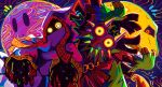 glowing glowing_eyes homriette hood hyness kirby:_star_allies kirby_(series) looking_at_viewer mask moon_(majora's_mask) pose skull_kid the_legend_of_zelda the_legend_of_zelda:_majora's_mask void_termina wide-eyed yellow_sclera