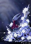 1girl absurdres cloak commentary crack cracked_mask flower highres holding holding_flower hollow_eyes hollow_knight hornet_(hollow_knight) nail petals red_cloak solo standing ugly_cat weapon white_flower