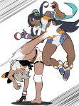 2girls aqua_eyes aqua_hair barefoot bike_shorts black_bodysuit black_hair bodysuit bodysuit_under_clothes breasts gloves grey_hair gym_leader hair_bun kicking knee_pads long_hair medium_breasts motion_blur multicolored_hair multiple_girls nexas pain partly_fingerless_gloves poke_ball poke_ball_(generic) pokemon pokemon_(game) pokemon_swsh rurina_(pokemon) saitou_(pokemon) sandals short_hair swimsuit tankini two-tone_hair upside-down