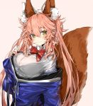1girl animal_ear_fluff animal_ears bangs blue_jacket blush bow breasts brown_background brown_eyes closed_mouth collared_shirt commentary_request drawstring eyebrows_visible_through_hair fate/extra fate_(series) fox_ears fox_girl fox_tail hair_between_eyes hand_up highres jacket large_breasts long_hair long_sleeves looking_at_viewer off_shoulder pink_hair red_bow shirt silver_(chenwen) simple_background smile solo tail tamamo_(fate)_(all) tamamo_no_mae_(fate) upper_body very_long_hair white_shirt