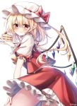 1girl absurdres artist_name ascot bangs blonde_hair blush bow commentary crystal eyebrows_visible_through_hair flandre_scarlet food frilled_shirt_collar frills fruit hair_between_eyes hand_up hat hat_bow highres holding holding_food leaning_forward long_hair looking_at_viewer midriff_peek miniskirt mob_cap nail_polish one_side_up plate pointy_ears pudding_(skymint_028) puffy_short_sleeves puffy_sleeves red_bow red_eyes red_nails red_skirt red_vest shirt short_sleeves signature simple_background skirt skirt_set smile solo strawberry strawberry_shortcake thighs touhou vest white_background white_headwear white_shirt wings yellow_neckwear