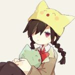 ^_^ ^o^ animal_hat black_hair bow bowtie braid cat cat_hat closed_eyes closed_mouth defect_mogeko green_cat grey_jacket hat hug iovebly jacket kurai_yonaka long_hair looking_at_viewer lowres mogeko_(mogeko_castle) mogeko_castle mogekov_hashasky one_eye_covered red_eyes red_neckwear school_uniform simple_background sitting twin_braids upper_body white_background yellow_headwear