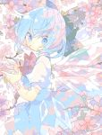 1girl blue_dress blue_eyes blue_hair bow branch bud cherry_blossoms cirno commentary cowboy_shot detached_wings dress flower_bracelet from_side hair_bow hands_up highres ice ice_wings looking_at_viewer nikorashi-ka petals short_hair short_sleeves solo touhou white_background wings