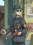 1girl absurdres armband belt blonde_hair commentary counter english_commentary gun hat highres load_bearing_equipment military military_hat military_uniform norway original ponytail rifle soldier solo uniform weapon whdgus2078 world_war_ii
