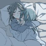 2girls blanket blue_hair blush brown_hair closed_eyes hibike!_euphonium hug kasaki_nozomi liz_to_aoi_tori multiple_girls pillow ree_(re-19) sleeping under_covers yoroizuka_mizore