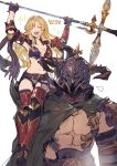 1boy 1girl belt blonde_hair breasts cape carrying draph granblue_fantasy hair_down helmet highres horns long_hair navel polearm shimatani_azu shoulder_carry smile sparkle spear thigh-highs torn_clothes vaseraga victory_pose weapon white_background zeta_(granblue_fantasy)