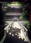bridge building day forest nagishiro_mito nature no_humans original outdoors railing rope scenery shadow shide temple torii tree tree_shade