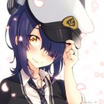 1girl anchor_symbol bangs black_cardigan blush breasts checkered checkered_neckwear cherry_blossoms collarbone collared_shirt commentary_request eyebrows_visible_through_hair eyepatch glint hair_between_eyes hand_up hat headgear holding holding_hat jewelry kantai_collection kotobuki_(momoko_factory) large_breasts looking_at_viewer necktie peaked_cap petals portrait purple_hair ring school_uniform shirt short_hair sidelocks simple_background sleeves_rolled_up smile solo tenryuu_(kantai_collection) twitter_username wedding_ring white_background white_headwear white_shirt yellow_eyes