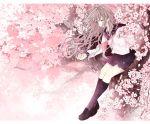 1girl akakura brown_hair cherry_blossoms flower highres kneehighs long_hair original petals pink_eyes school_uniform serafuku solo tree