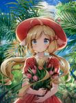 1girl :o ahoge animal_ears bangs blonde_hair blue_eyes blush bouquet bow commentary_request day dress eyebrows_visible_through_hair floating_hair flower hair_bow hat highres holding holding_bouquet horizon long_hair looking_at_viewer low_twintails melings_(aot2846) nature ocean original outdoors parted_lips pink_flower plant pleated_dress red_bow red_dress red_headwear short_sleeves solo tulip twintails very_long_hair water