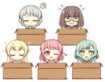 +_+ 5girls :> :d ;d =_= aqua_hair bang_dream! bangs blonde_hair blue_neckwear blush_stickers box braid brown_hair brown_serafuku cardboard_box closed_eyes collared_shirt commentary_request eyebrows_visible_through_hair flying_sweatdrops glasses green_eyes grey_jacket hair_between_eyes half_updo hanasakigawa_school_uniform haneoka_school_uniform highres hikawa_hina in_box in_container jacket long_hair looking_at_viewer maruyama_aya multiple_girls necktie notice_lines one_eye_closed open_mouth own_hands_together pastel_palettes pink_eyes pink_hair red-framed_eyewear sailor_collar school_uniform semi-rimless_eyewear shirasagi_chisato shirt short_hair side_braids sidelocks simple_background smile sparkle speech_bubble star striped striped_neckwear swept_bangs teen_(teen629) twin_braids u_u under-rim_eyewear upper_body wakamiya_eve wavy_mouth white_background white_hair white_sailor_collar white_shirt yamato_maya