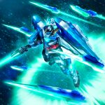 00_qan[t] blade commentary_request flying funnels glowing glowing_eyes green_eyes gundam gundam_00 gundam_00_a_wakening_of_the_trailblazer highres light_particles mecha mobile_suit no_humans science_fiction shield solo sword v-fin weapon youiki