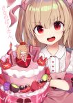 1girl absurdres apron armband brown_hair cake commentary_request food hair_ornament highres loli_king long_hair looking_at_viewer natori_sana open_mouth portrait red_eyes sana_channel solo translation_request virtual_youtuber white_background