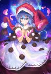 1girl bangs black_capelet blob blue_eyes blue_hair capelet cheunes commentary cowboy_shot doremy_sweet dress eyebrows_visible_through_hair full_moon hair_between_eyes hands_up hat highres looking_at_viewer moon nightcap own_hands_together pom_pom_(clothes) red_headwear short_hair smile solo tail tapir_tail touhou white_dress