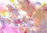 :d animal_ears bangs blonde_hair breasts brooch collared_shirt cowboy_shot earrings eyebrows_visible_through_hair fake_animal_ears granblue_fantasy hair_ornament hairband hairclip heart horns jewelry kuvira_(granblue_fantasy) large_breasts long_hair long_sleeves mahira_(granblue_fantasy) mouse mouse_ears necklace official_art open_mouth red_eyes ribbon sailor_collar shirt silver_hair smile vikala_(granblue_fantasy) white_shirt
